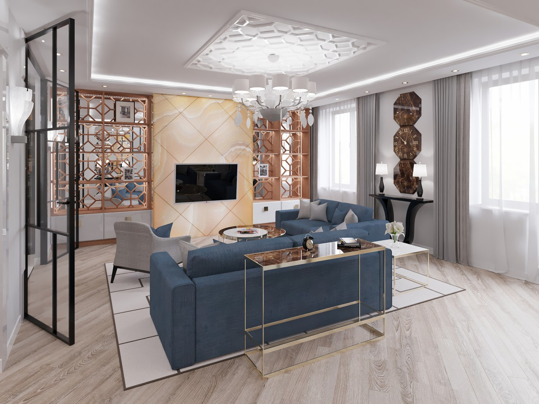 living room in 3d max corona render image