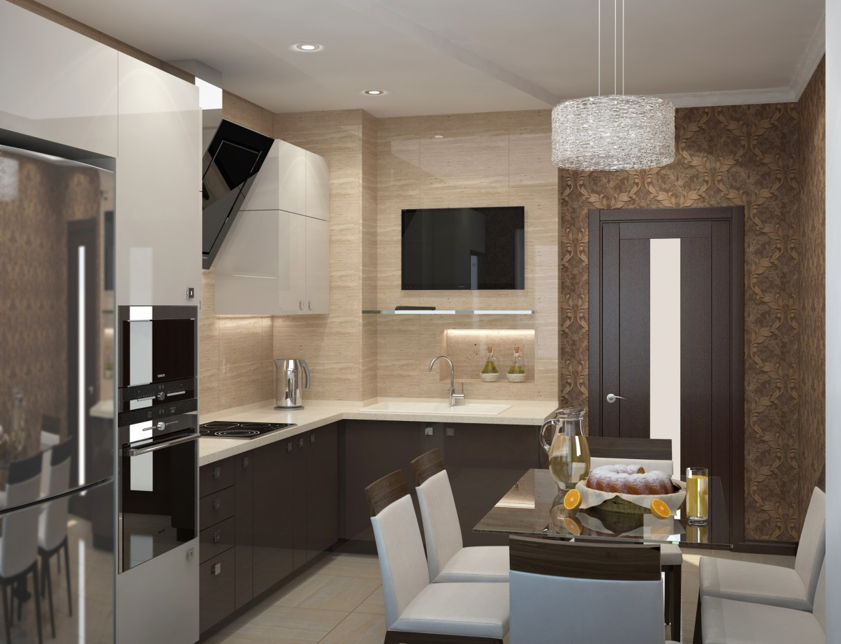 3d visualization of the project in the Kitchen 3d max, render vray of Eкатерина