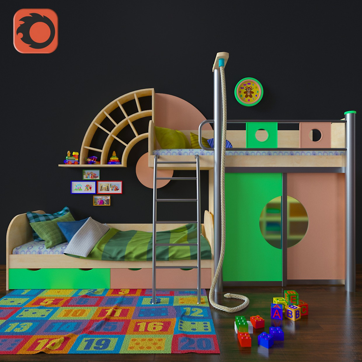 Children's furniture. modeling and visualization in 3d max corona render image