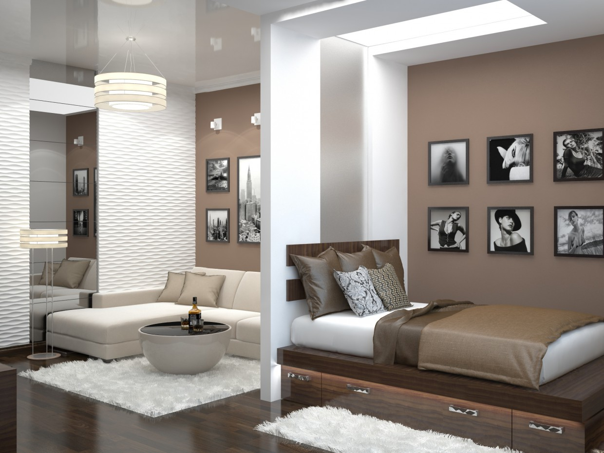 One bedroom apartment in a variety of styles  in  3d max   vray  image