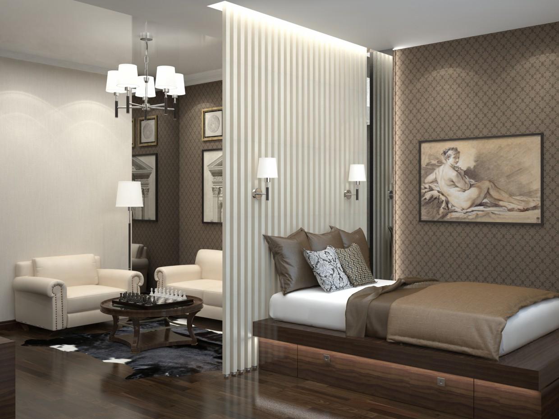 Однокімнатна квартира в різних стилях в 3d max vray зображення