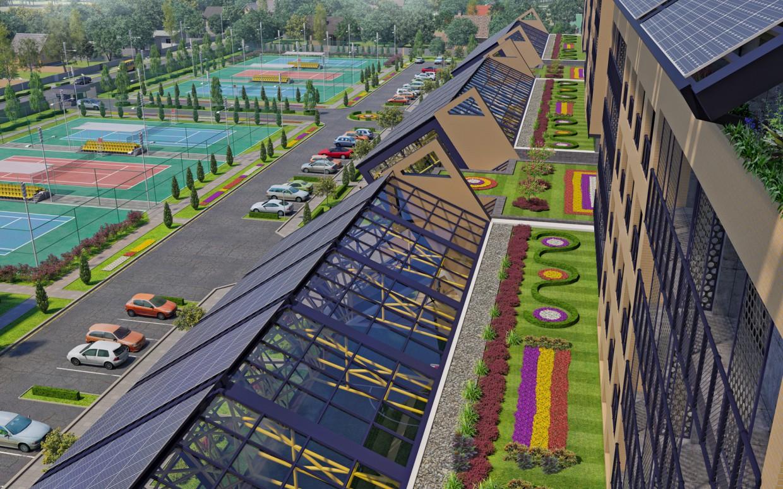 """Житловий комплекс """"DEVIS"""" зі спортивним центром. в 3d max corona render зображення"""