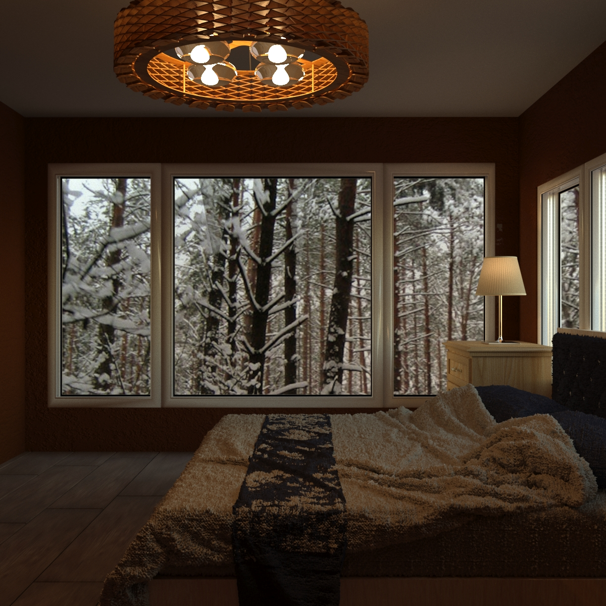 3d visualization of the project in the Bedroom 3d max, render corona render of Deshem