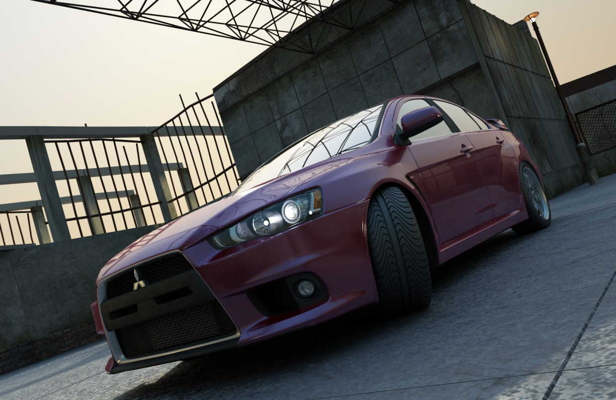 3d visualization of the project in the Mitsubishi Lancer 3d max, render vray of romanius
