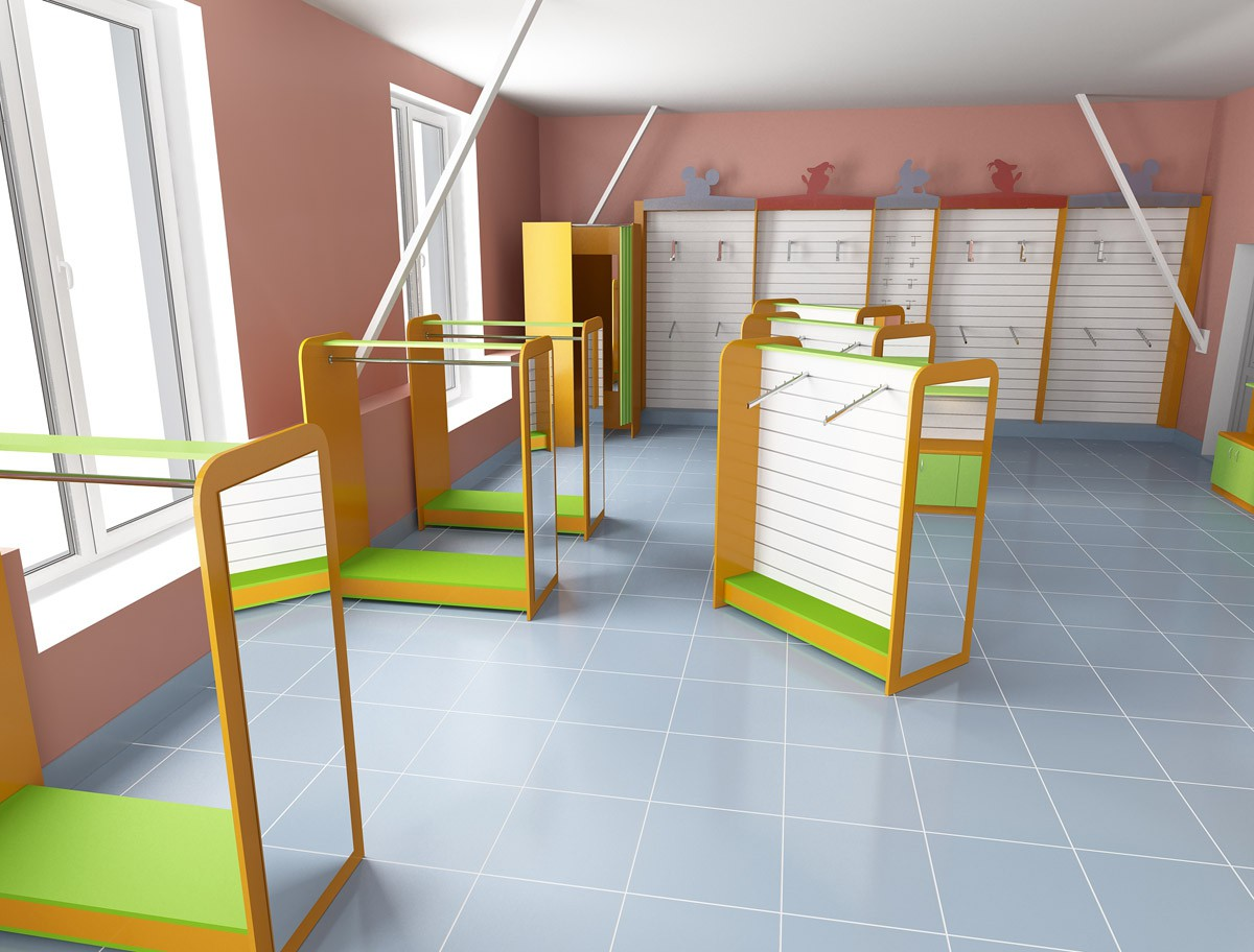 Children clothes shop in 3d max vray image