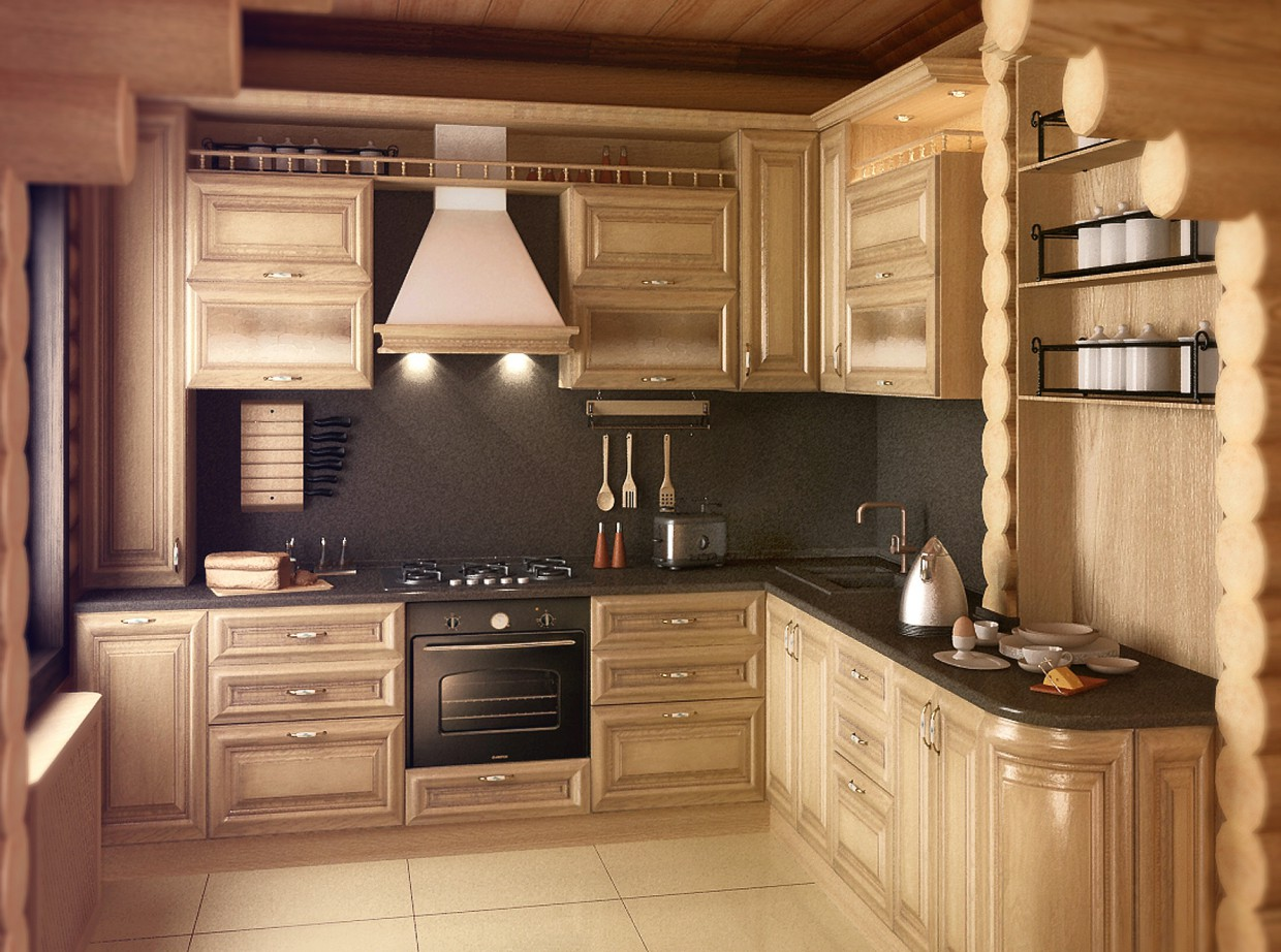 The kitchen in the House of logs in 3d max vray image