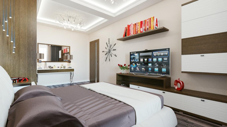 visualización 3D del proyecto en el Dormitorio minimalismo 3d max render vray Olegx