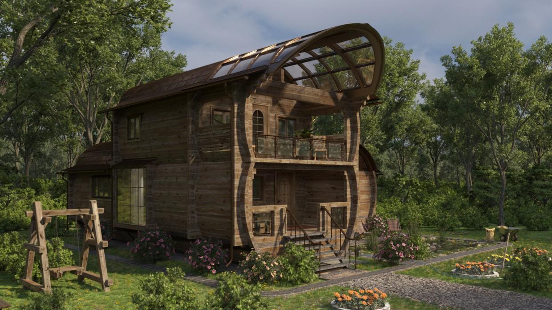 Barrel House in 3d max corona render image