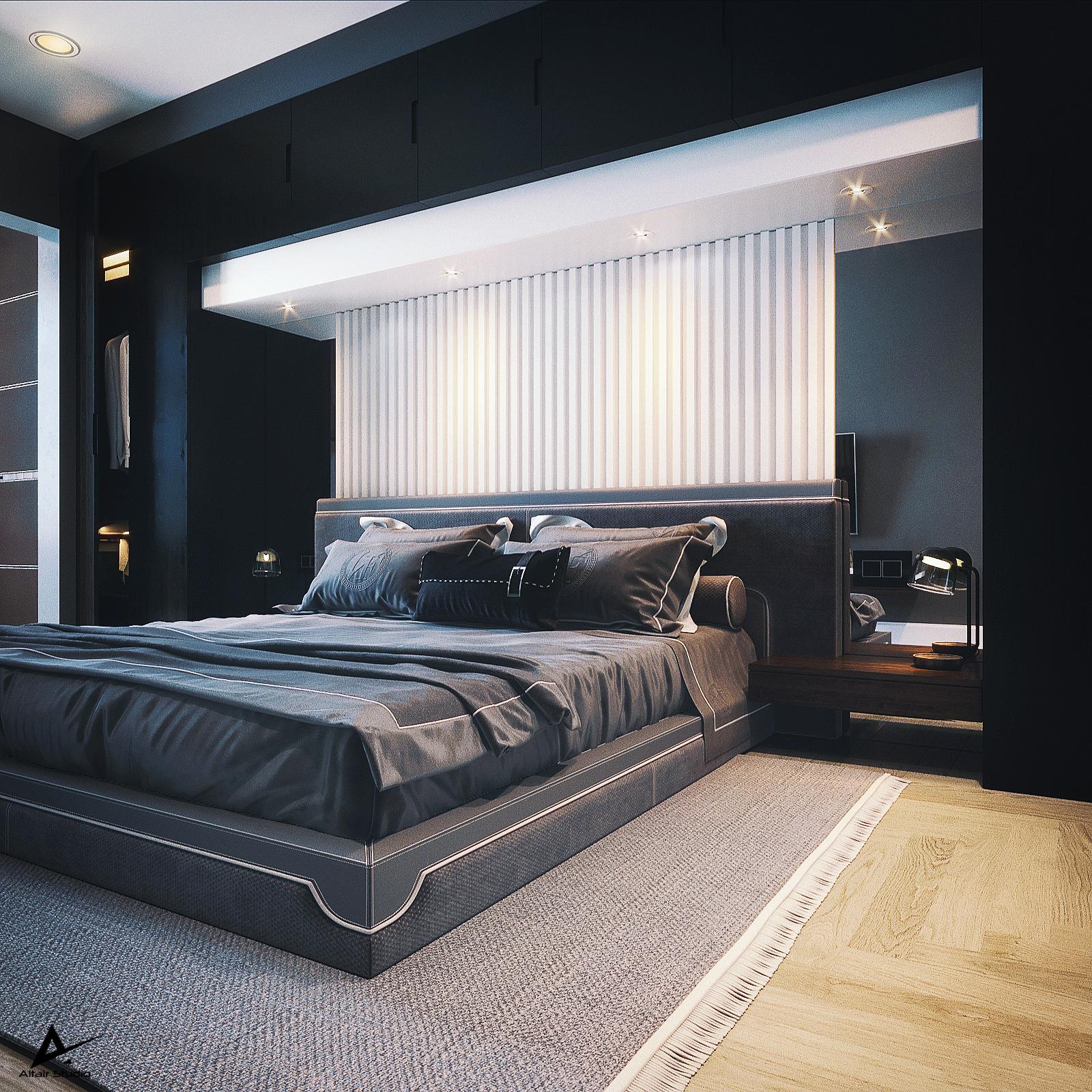 3d visualization of the project in the Modern Dark Bedroom 3d max, render corona render of Farid Muradov