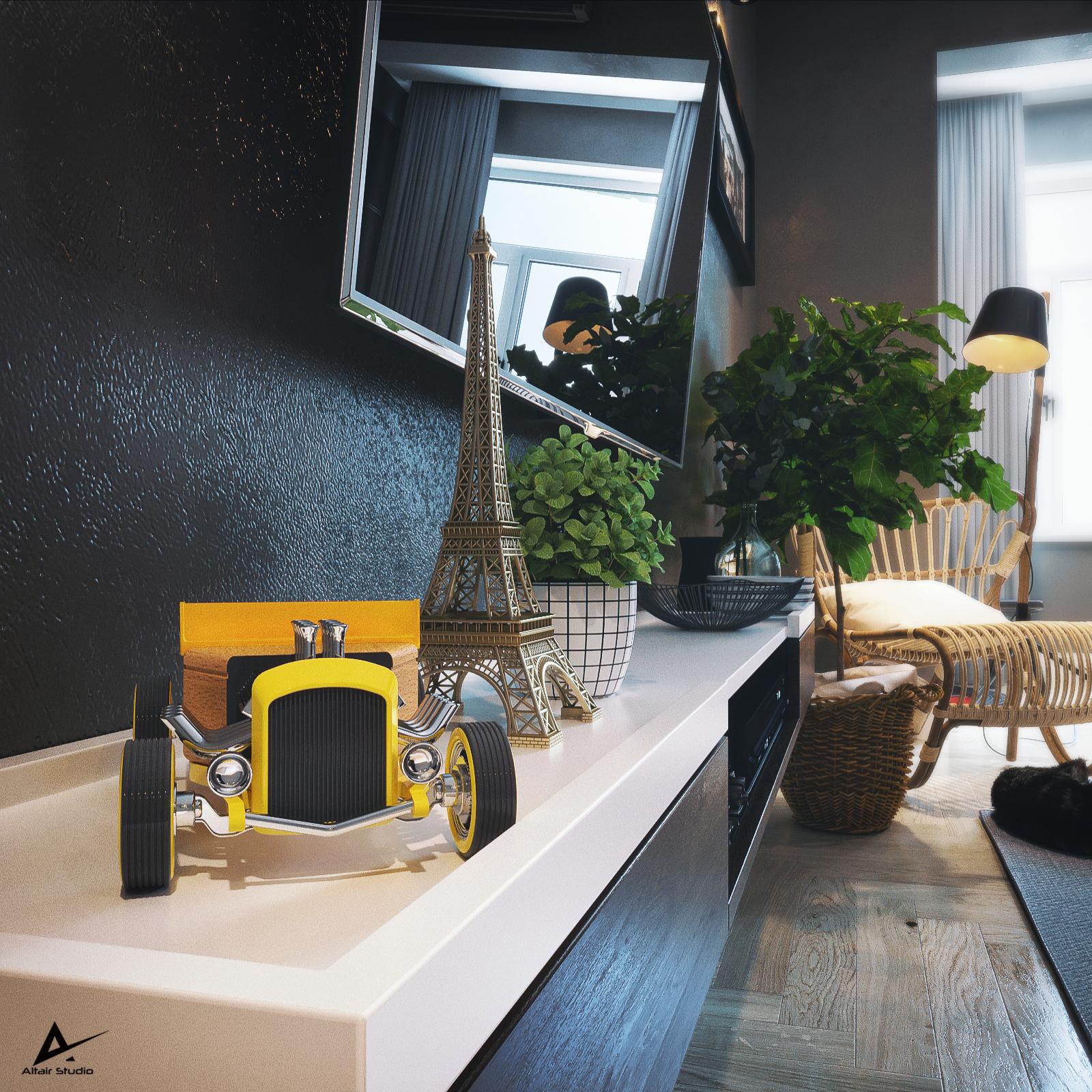 Modern Dark Bedroom in 3d max corona render image