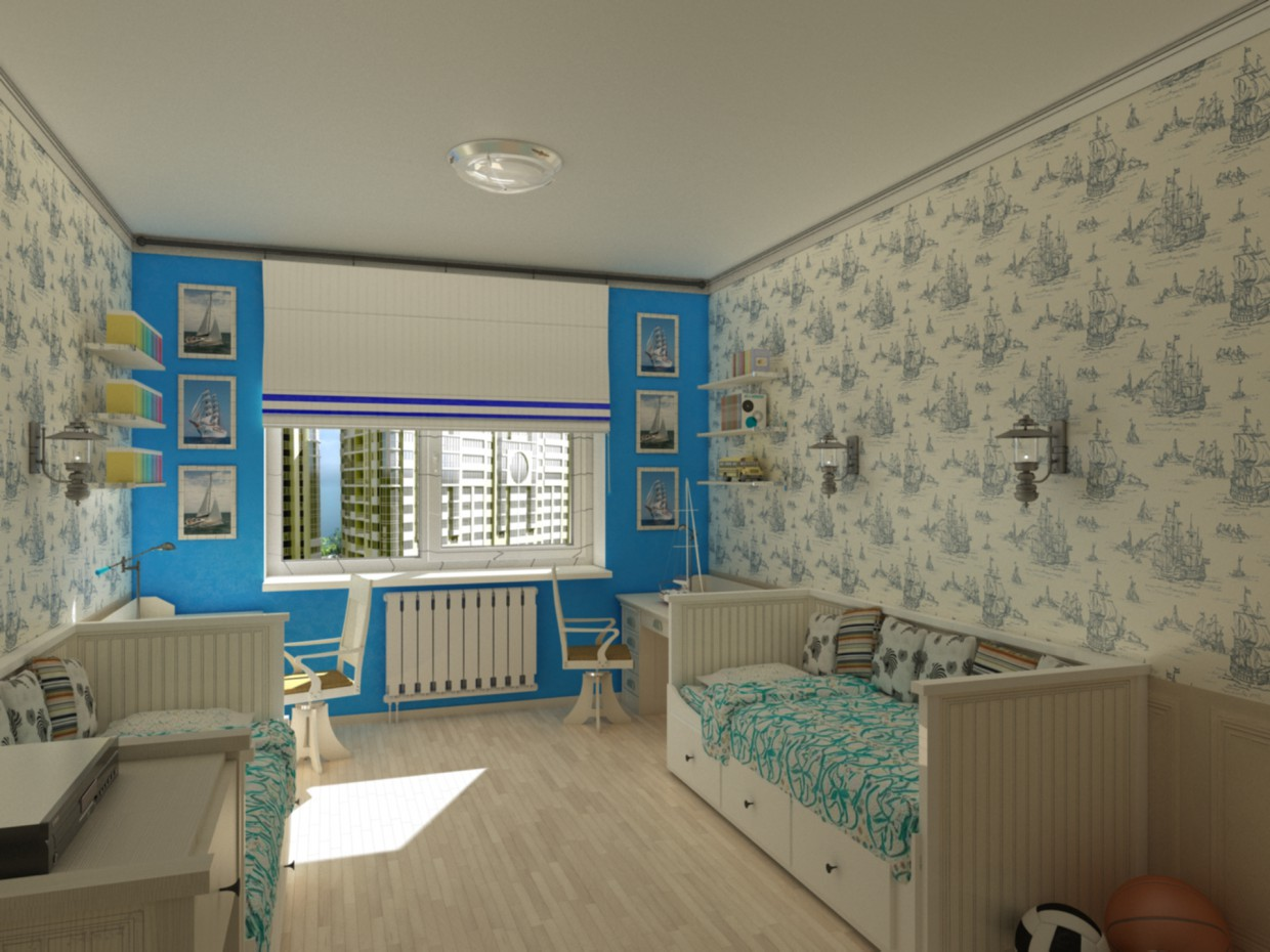 A selection of furniture for the room for two boys  in  3d max   vray  image