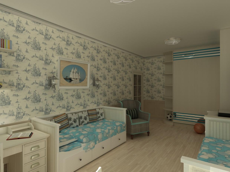 imagen de Una selección de muebles para la habitación para dos niños en 3d max vray