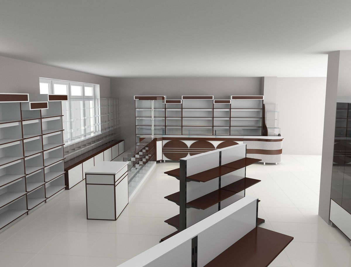 3d visualization of the project in the Parfumes store (draft) 3d max, render vray of dell_master