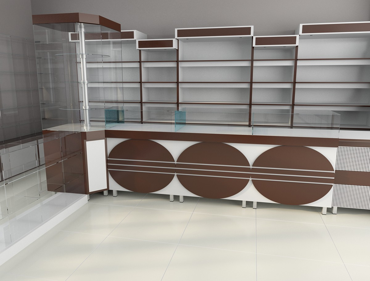 Parfumes store (draft) in 3d max vray image