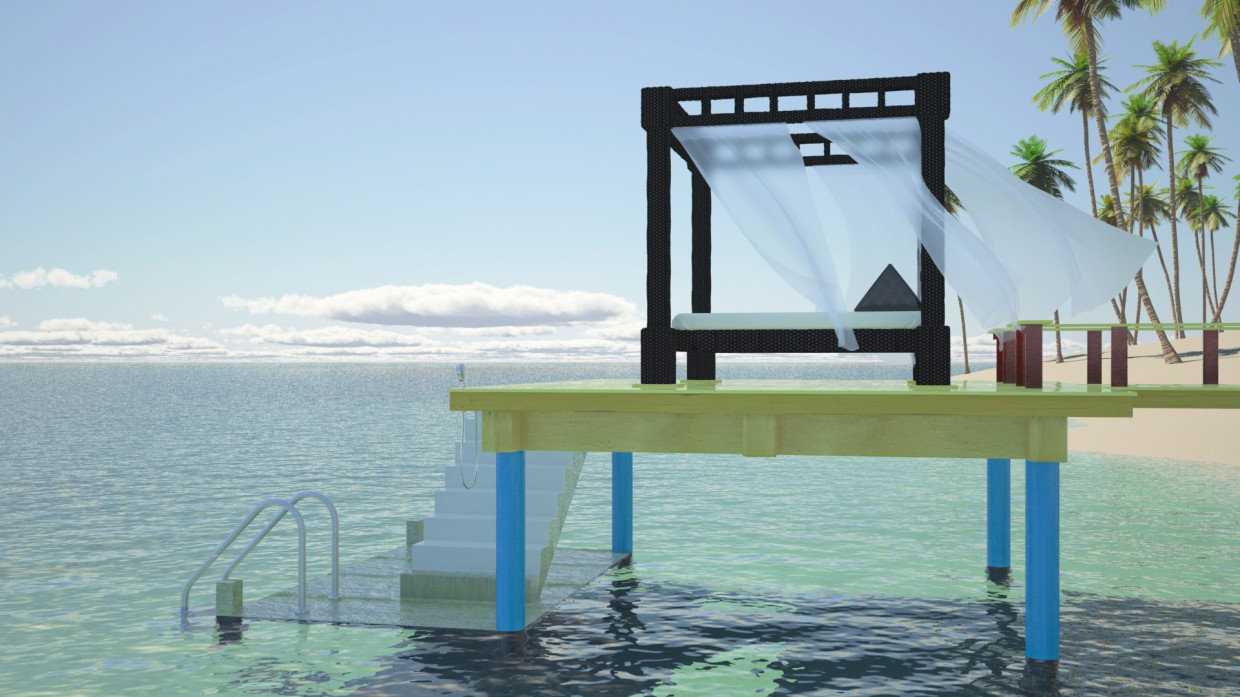 Seaside in Maya vray image