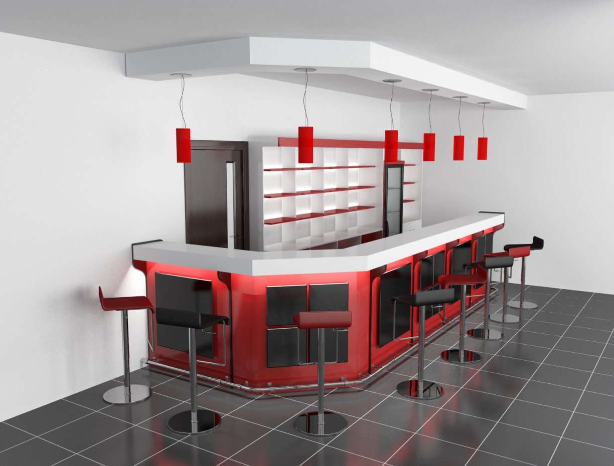 Preliminary design of the bar in 3d max vray image