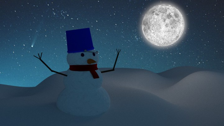Snowman in the moonlight in Blender vray image