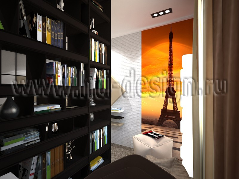 Bedroom with study area in 3d max vray image