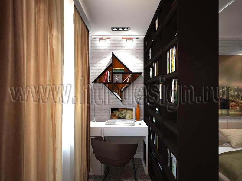 imagen de Dormitorio con área de estudio en 3d max vray