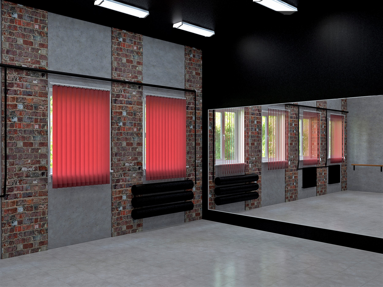 Design project of a dance hall in a secondary school in the Moscow region in 3d max vray 3.0 image