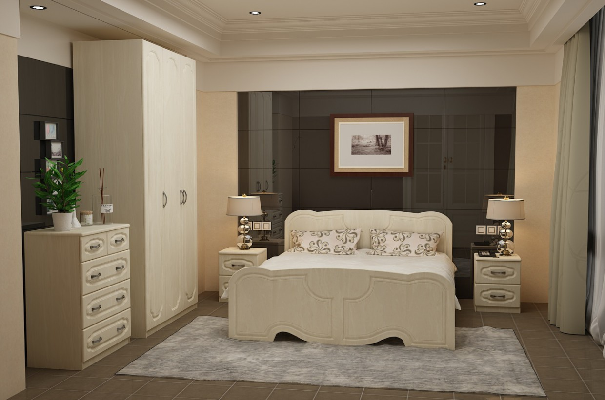 Pearl bedroom in 3d max vray 2.0 image