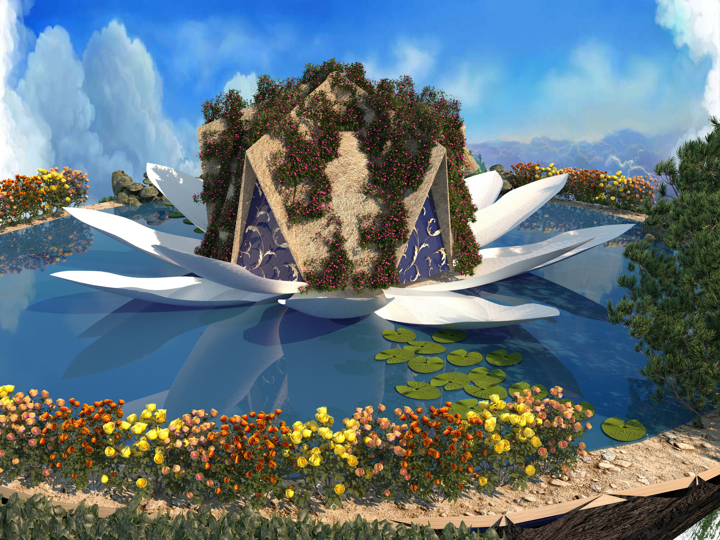 Domed house on a floating island in 3d max corona render image