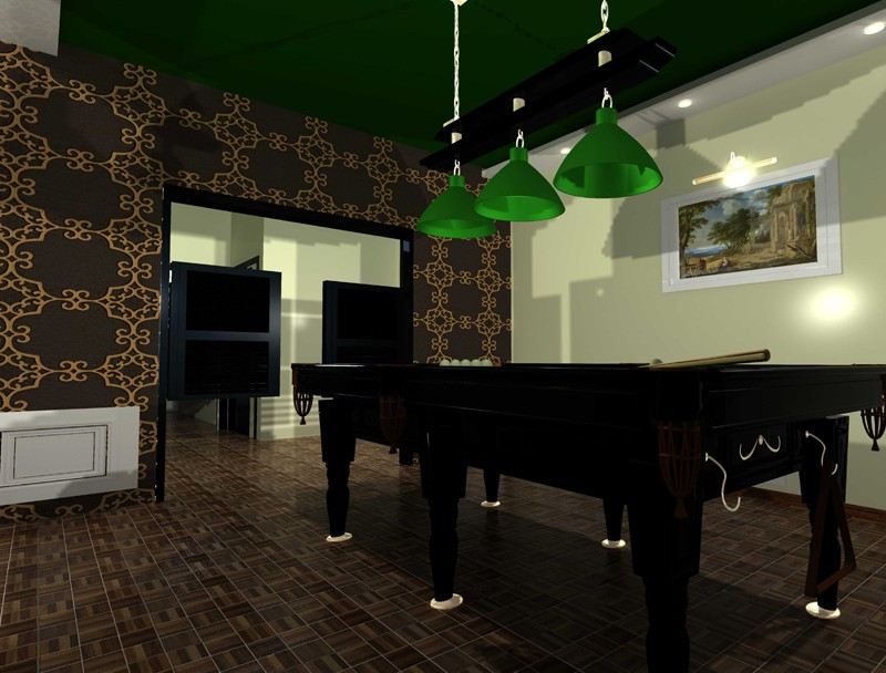 3d visualization of the project in the BILLIARD ROOM 3d max, render mental ray of Ксения-Интерьерия