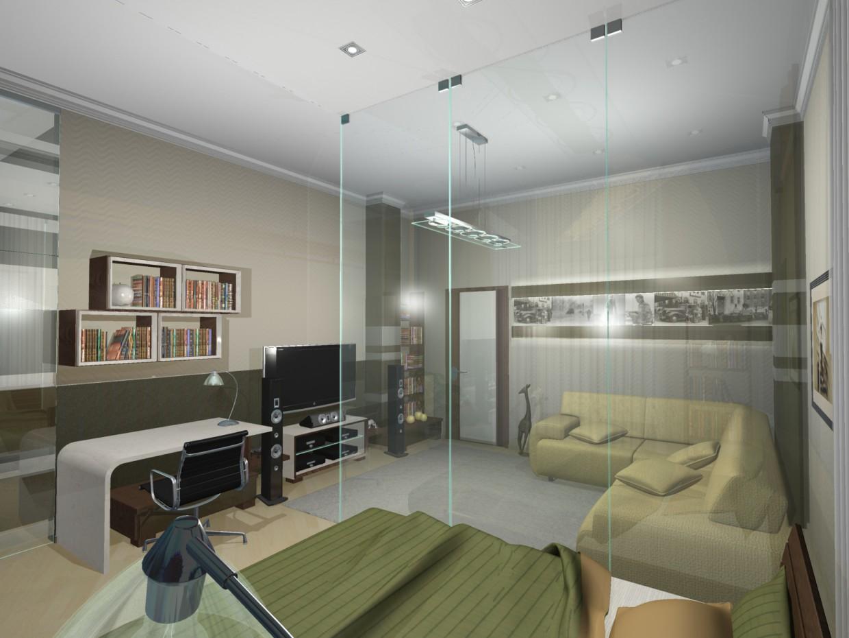 Холостяцкая квартира в 3d max mental ray изображение