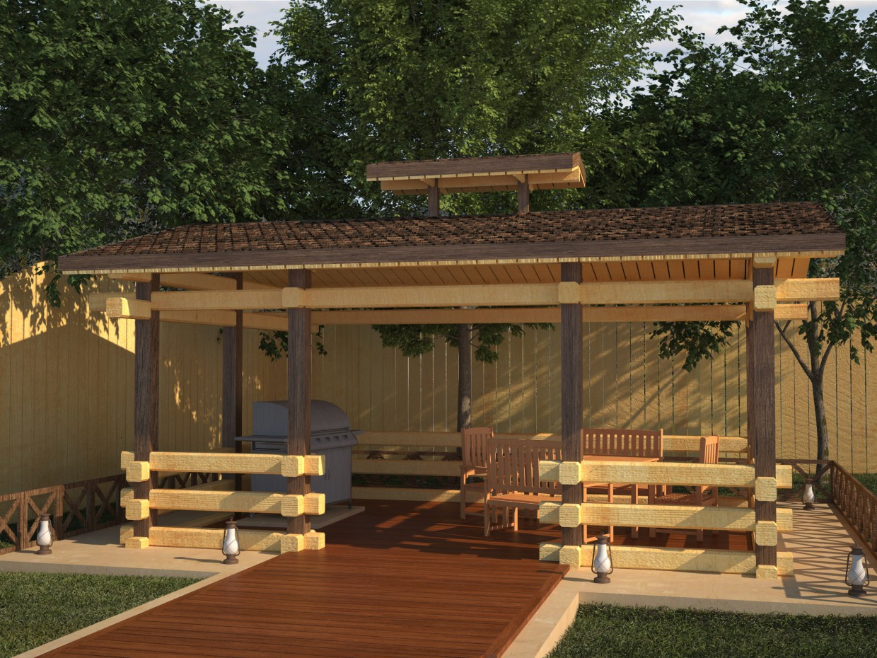 Houses made of lumber in 3d max vray image