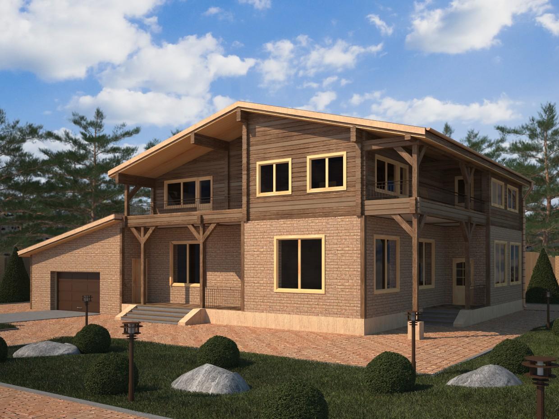 Будинки з клеєного бруса в 3d max vray зображення