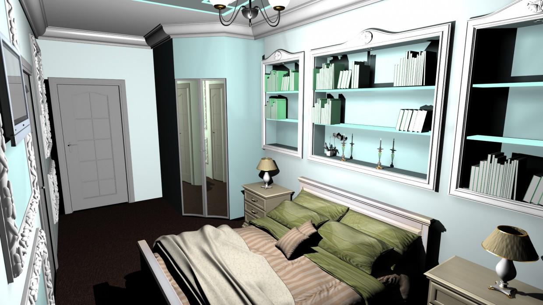 visualización 3D del proyecto en el Dormitorio 3d max render vray Кирилл супер дизайн