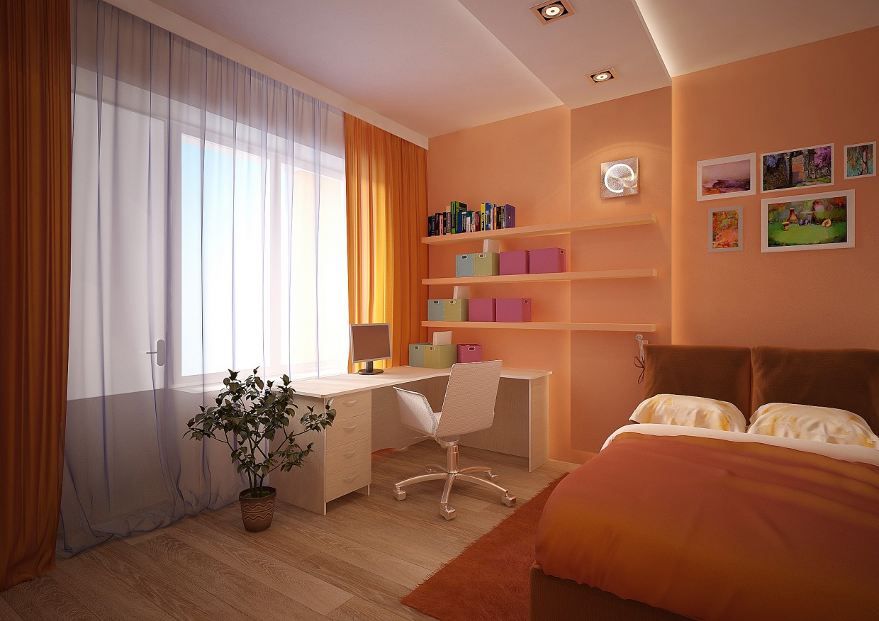 Bedroom for girls in 3d max vray image