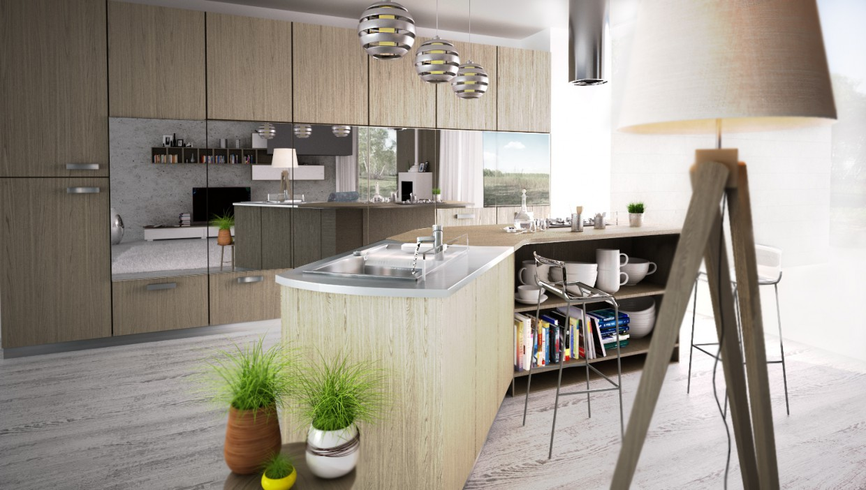 3d visualization of the project in the kitchen 3d max, render vray of mortarion