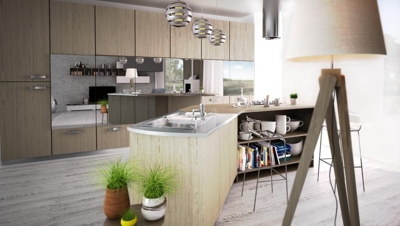 visualización 3D del proyecto en el cocina 3d max render vray mortarion