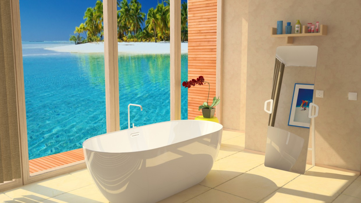 3d visualization of the project in the Bathroom Maya, render vray of temporalex