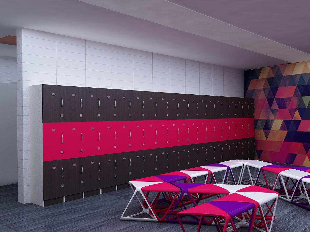 imagen de sala de vestuarios y recepción, centro de escalada en roca en 3d max vray