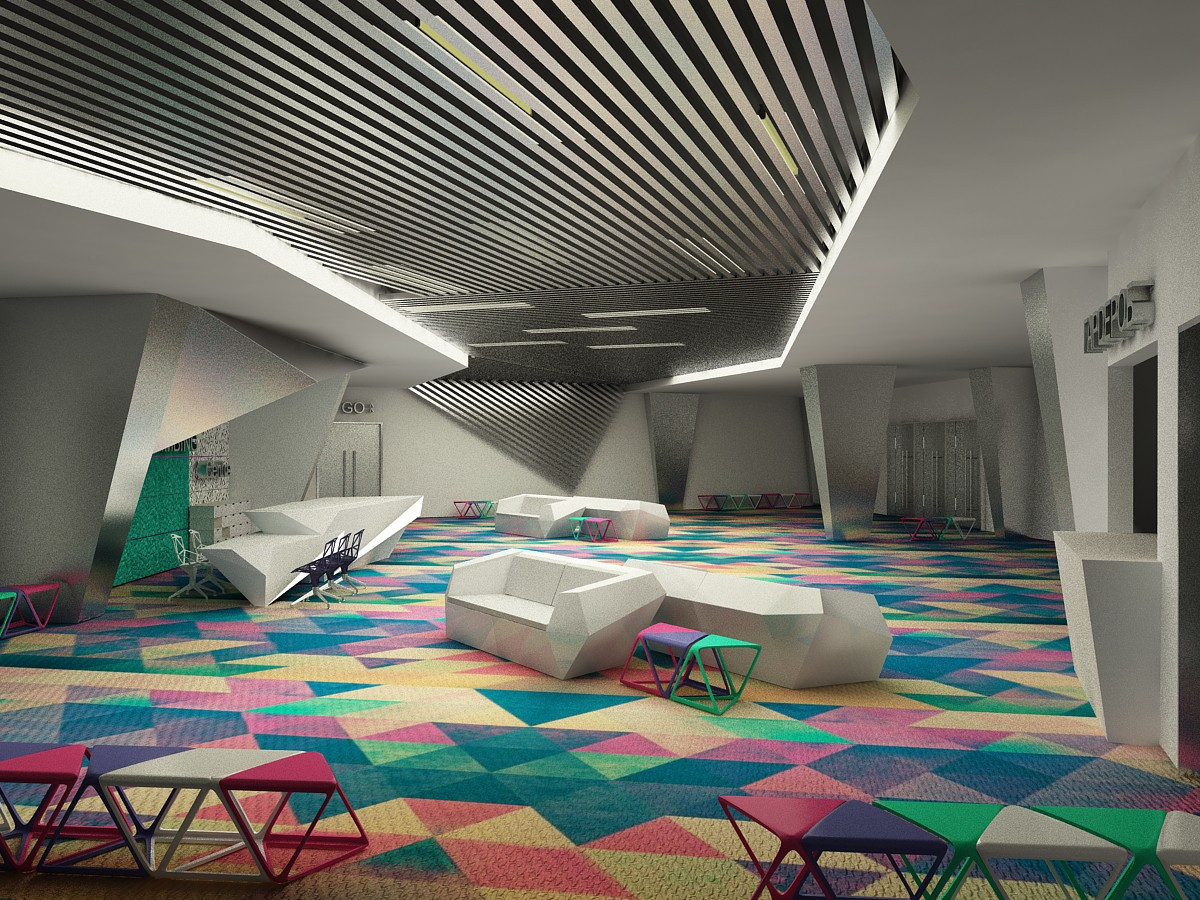 locker room/reception lounge, rock climbing Center in 3d max vray image