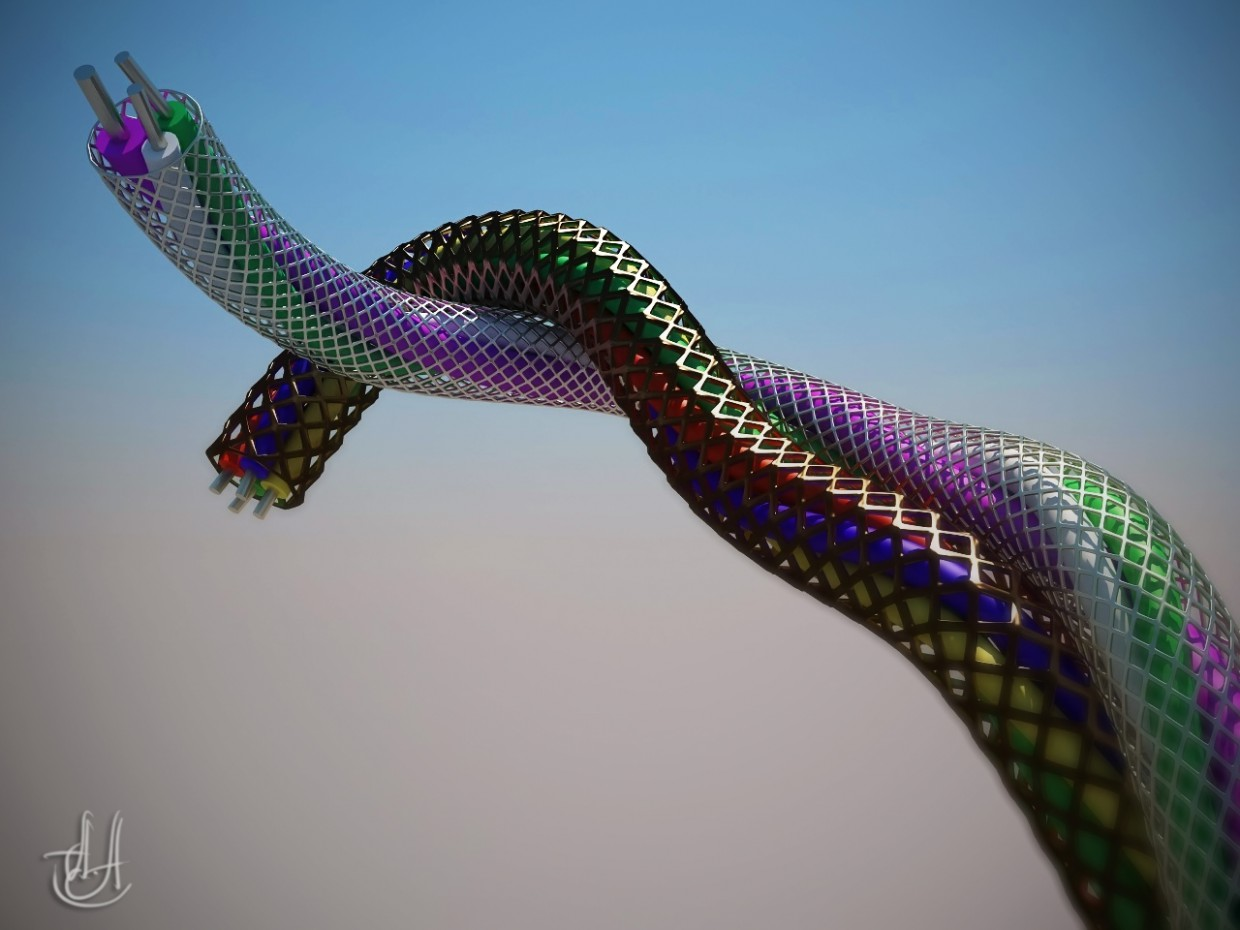 Wire braided in 3d max vray image