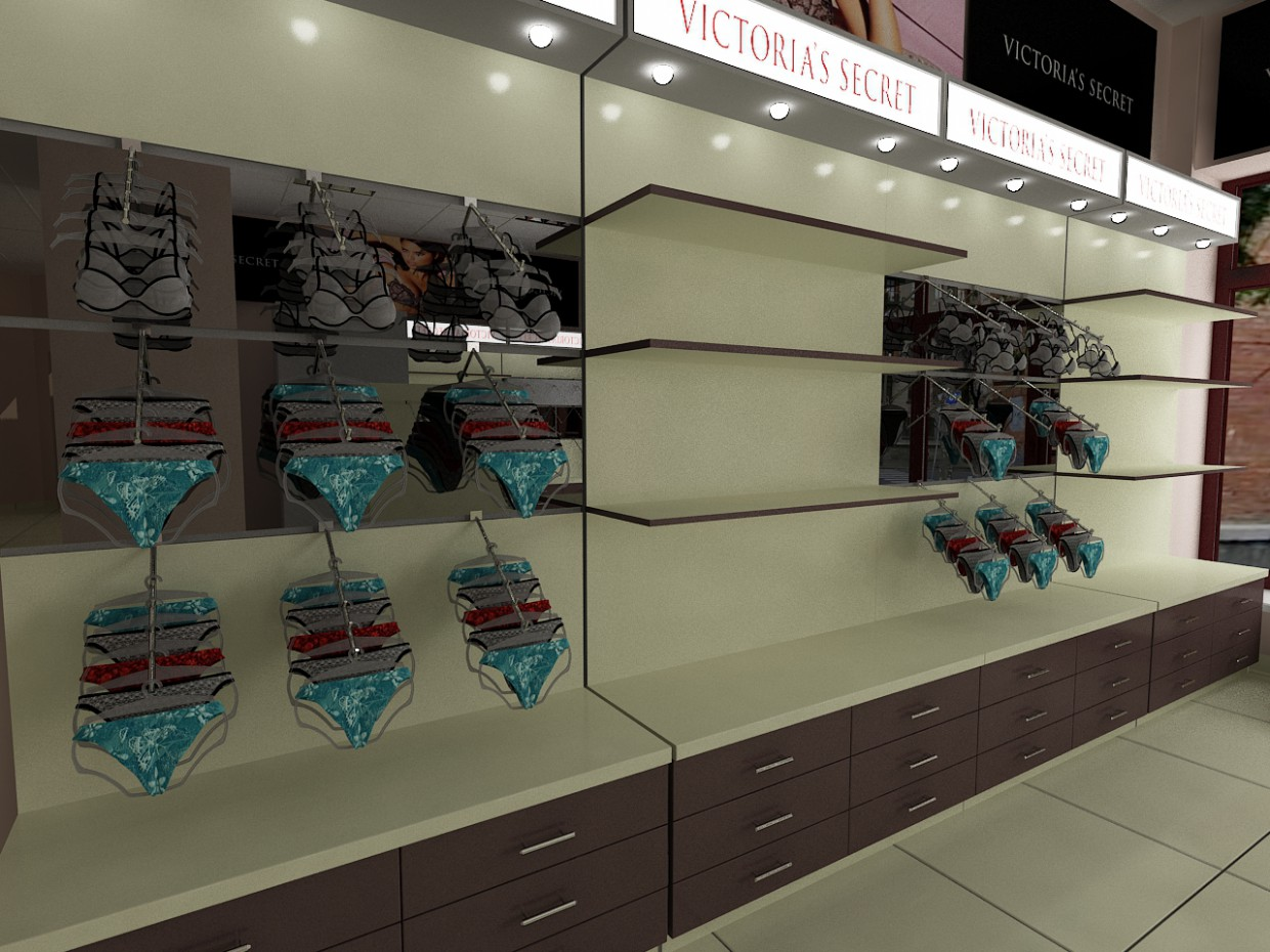 Women underwear store in 3d max vray image
