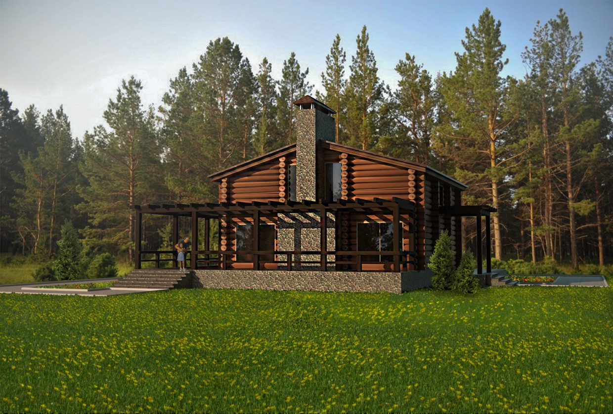 Cottage, log in 3d max vray image