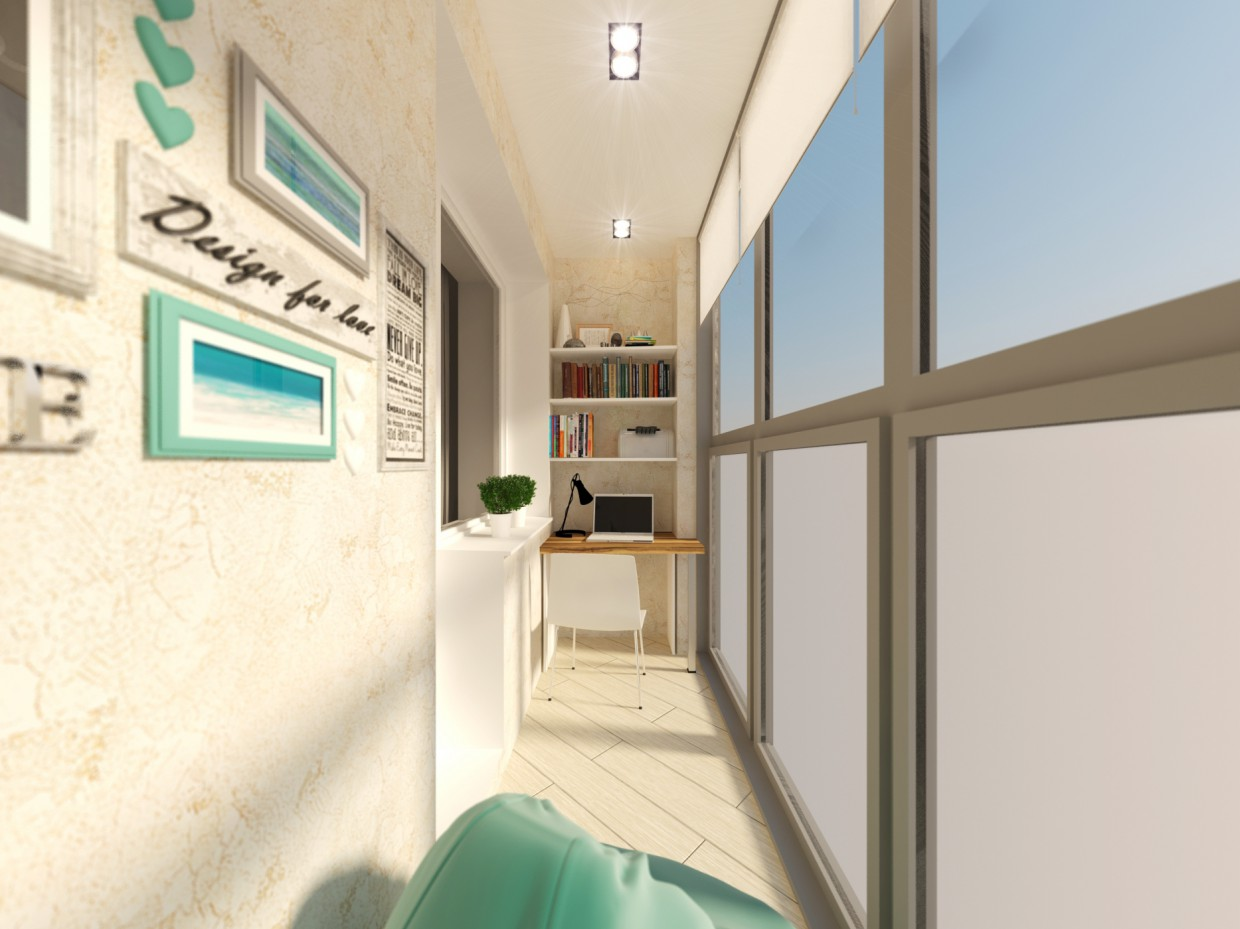 Balcony with panoramic windows in 3d max vray 2.5 image