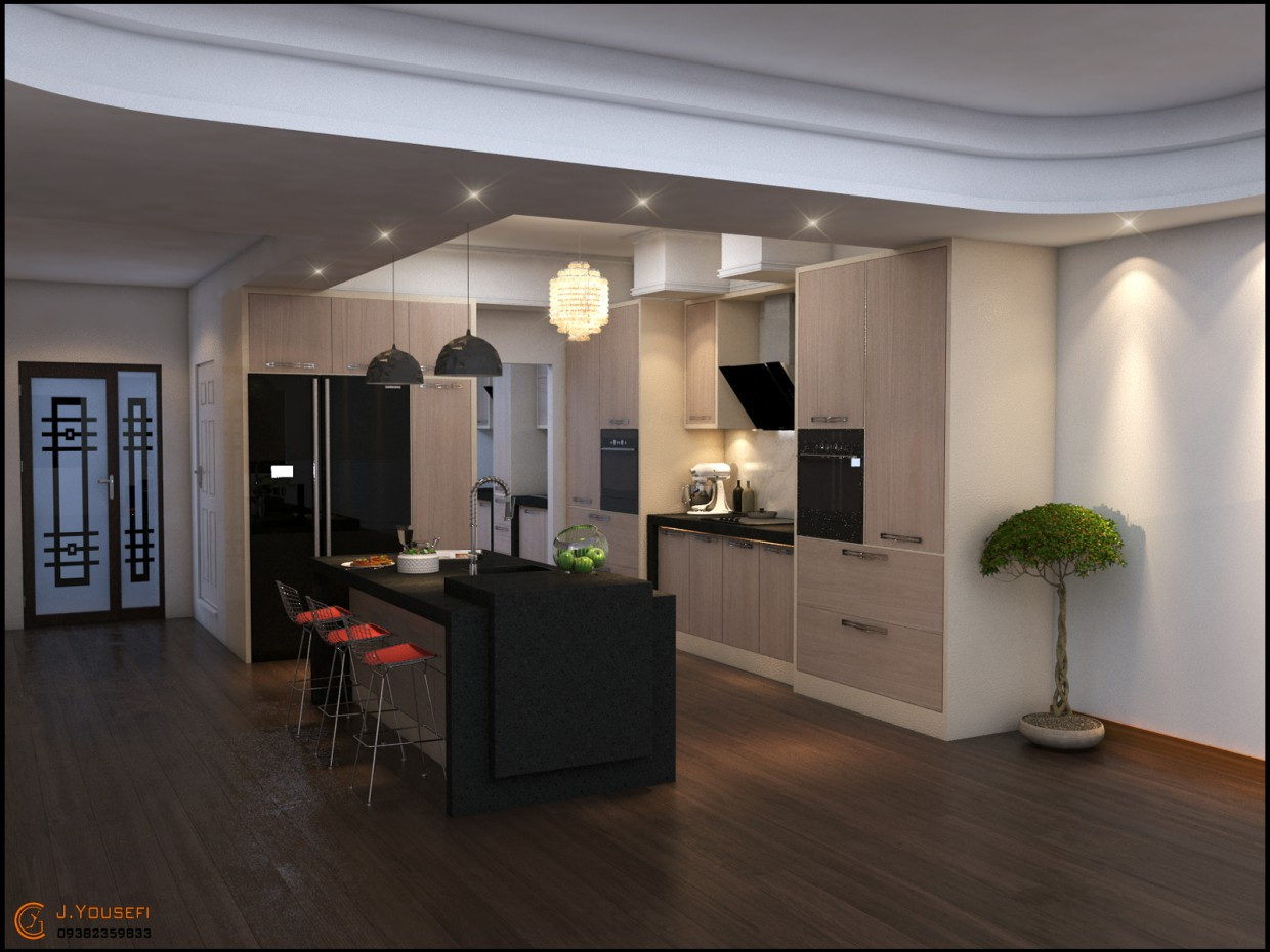 kitchen flow in 3d max vray image