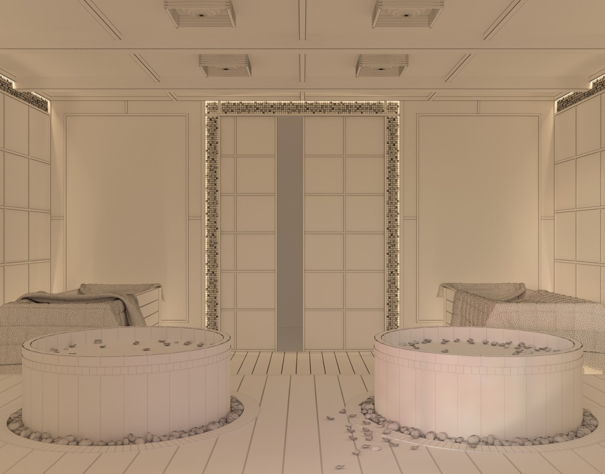 Japanese bath in 3d max vray image