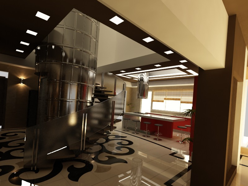 3d visualization of the project in the lobby & kitchen 3d max, render vray of melina.msh