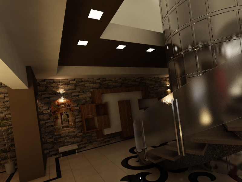 Lobby & kitchen in 3d max vray image