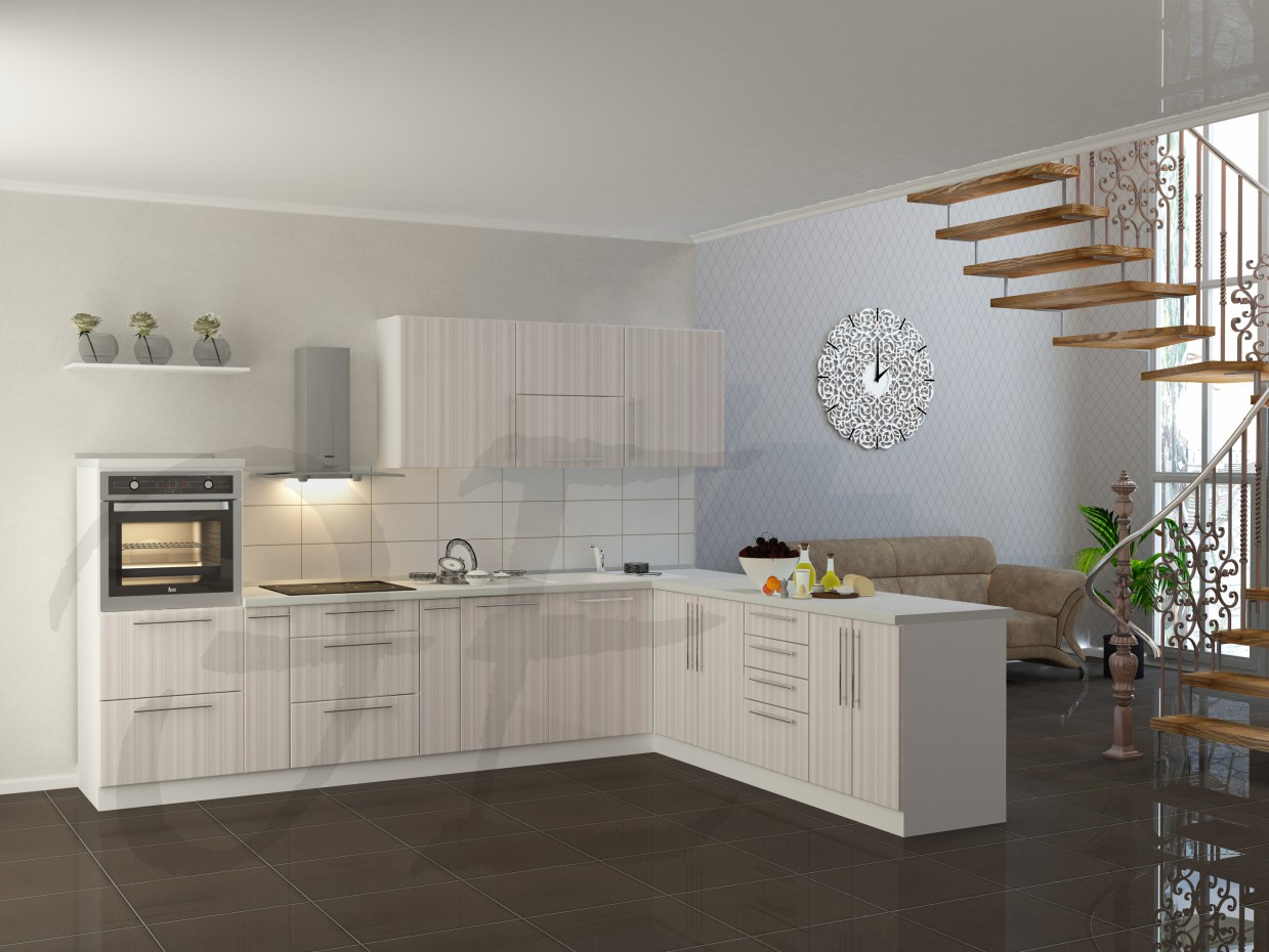 Kitchen + living room in 3d max vray 2.0 image