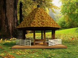 Gazebo by an oak