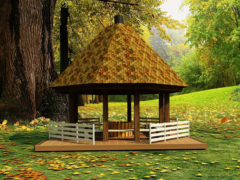 Gazebo by an oak in 3d max vray image