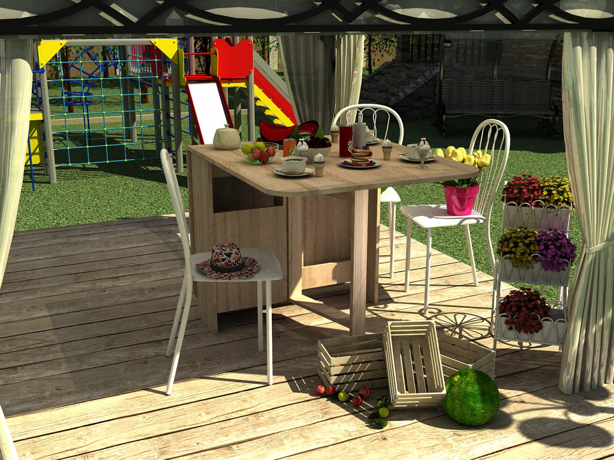 3d visualization of the project in the Cosy summer sweet corner 3d max, render vray 2.0 of Еlizaweta