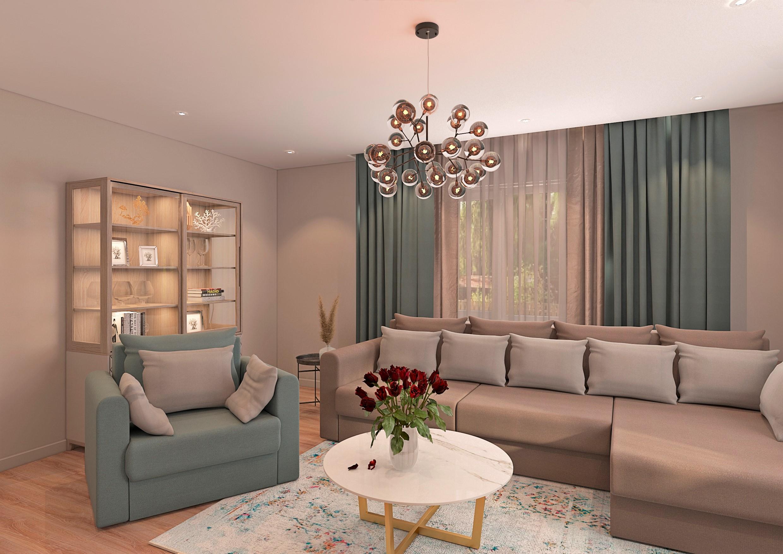 вітальня в приватному будинку в 3d max vray 3.0 зображення